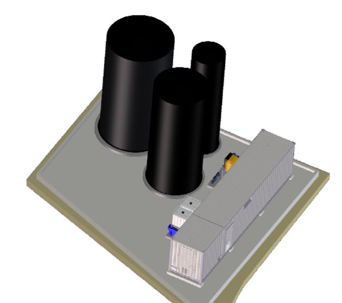 3D Modell des Hochleistungs-Membran-Bioreaktor (MBR) aus der BIOMEMBRAT<sup>®</sup>-Familie für die Anlage in Zadar, Kroatien
