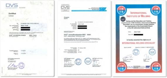 WEHRLE - Schweißfachmann Adem Yanik - Zertifikate